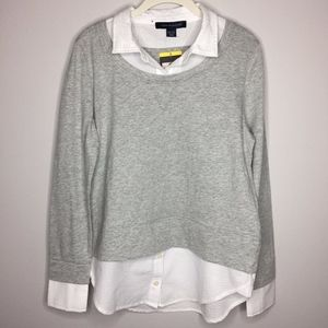 TOMMY HILFIGER NWT Gray and White Shirt